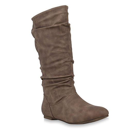Damen Schlupfstiefel Warm Gefütterte Stiefel Leder-Optik Schuhe 153346 Khaki Carlet 36 Flandell