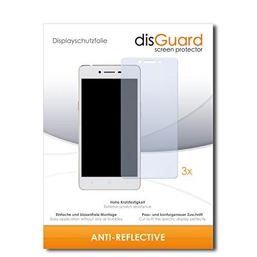 disGuard® Bildschirmschutzfolie [Anti-Reflex] kompatibel mit Oppo R7 Lite [3 Stück] Entspiegelnd, Matt, Antireflektierend, Extrem Kratzfest, Anti-Fingerabdruck - Panzerglas Folie, Schutzfolie