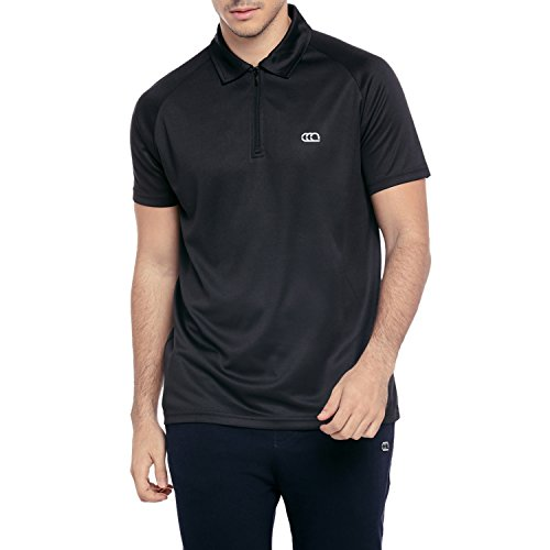 Ajile By Pantaloons Men's Plain Slim Fit Polo (110040000003_Black_L)