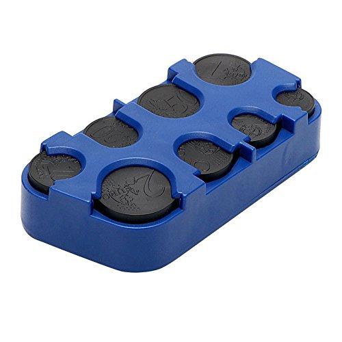 BONYTAIN - Dispensador de monedas automático a bordo, caja de almacenamiento, contenedor de dinero, organizador para el interior del coche, azul