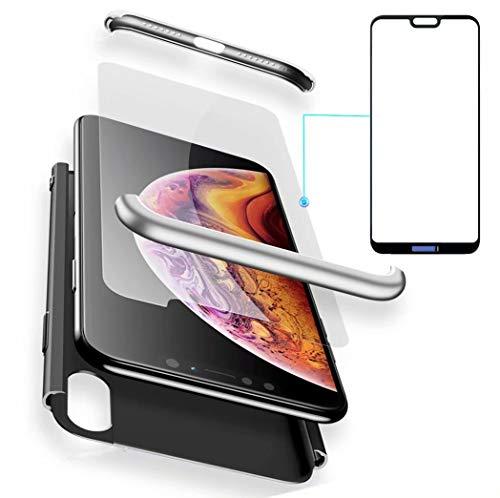 AILZH Huawei P20 Hülle 360 Grad Schutzhülle PC Hartschale Anti-Schock HandyHülle Anti-Kratz Stoßfänger 360° Full-Cover Case Matte Schutzkasten+Gehärteter Glasfilm(5.8