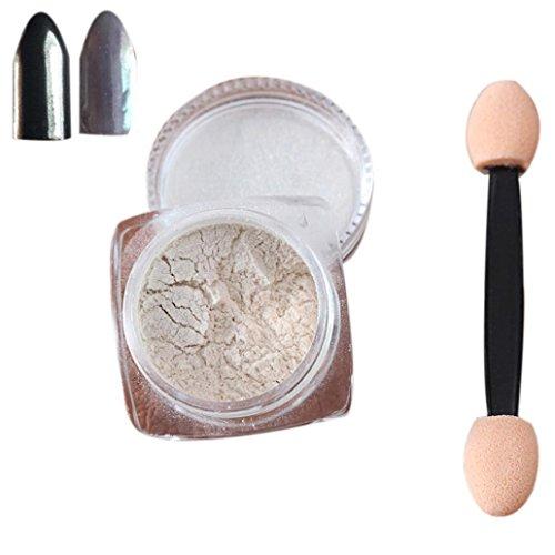 Nail Mirror Powder,Transer ® 2g / boîte Sliver Nail Glitter poudre Shinning ongles miroir maquillage Art bricolage Chrome Pigment de la poudre(Silver)