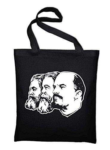 Marx Engels Lenin DDR CCCP Jutebeutel, Beutel, Stoffbeutel, Baumwolltasche, natur Schwarz