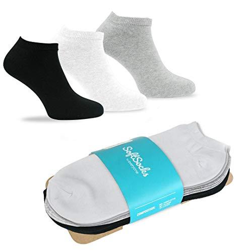 SoftSocks SNEAKER LOW CUT Socken für Damen, Herren und Jugendliche, verschiedene Grössen, 6 Paar - Schwarz, Weiß oder Mix! Baumwollenreiche Qualität! (2 Schwarz, 2 Hellgrau, 2 Weiß, 39-42) (Schwarze Low-cut-sport-socken)