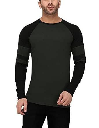 Katso Men's Cotton Raglan Stripe T-Shirt (Green, Small)