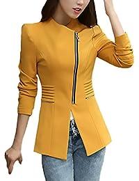 45a111ff12c3 Blazer Damen Frühling Herbst Casual Fashion Office Business Classic Unikat  Anzugjacke Langarm Revers mit Reißverschluss Slim Fit…