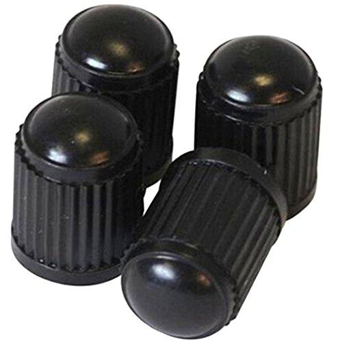 PRESKIN - 4 er Set Kunststoff Auto Ventilkappen (schwarz) Standard Valve Caps