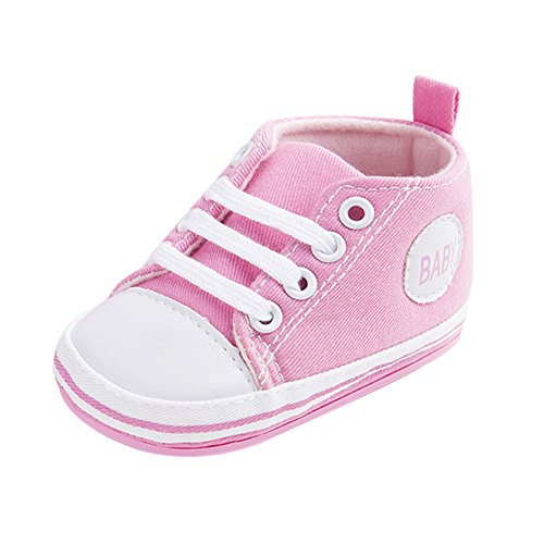 WYSBAOSHU Süße Baby-Leinwand-Turnschuh Anti Skid Weicher Netter Trainer Schuhe 3-18M (S: 3~6 Monate, Rosa) (Heels Baby-rosa)