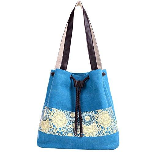 Frauen-Segeltuch-Schulter-Handtaschen Tote Bag Blue