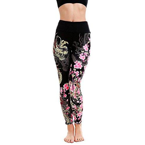 NINGSANJIN Damen 3/4 Yoga Leggings Hose Mittlere Taille Pants | Dünne Hosen | Mesh Muster Print Fitness Leggings | Sport Fitness Workout Leggins | Elastische Dünne Hosen | Sporthose (Schwarz,XL)