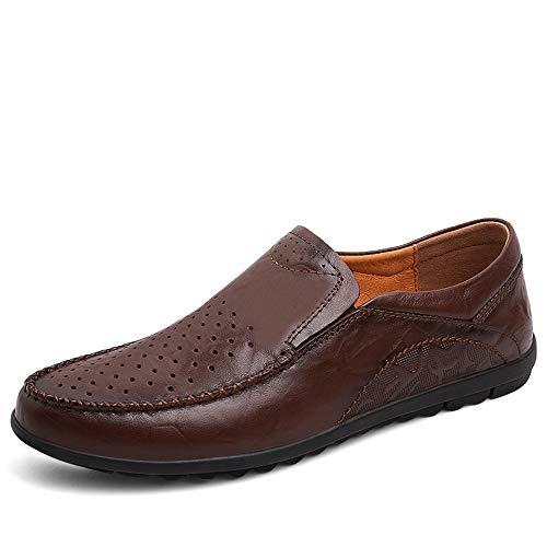 TONGDAUR Männer, die Müßiggänger lässig einfache Retro Ochsenleder Bequeme Boots-Mokassins halb Fahren Lederschuhe für Herren (Color : Hollow Dark Brown, Größe : 40 EU) -