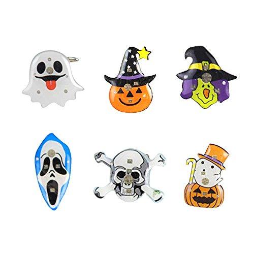 4 Ferse Halloween Kostüme (6 Stück Halloween Führte Blinkende Brosche Kürbis Geist Schädel Hexe Muster Partei)