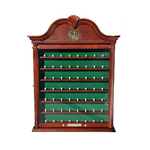 GYJ 56 Bälle Massivholz Golfball Display Stand Case Wandregal Halter Kabinett W/UV-Schutz Geschützte Tür, um Ihre Artikel vor dem Verblassen zu schützen