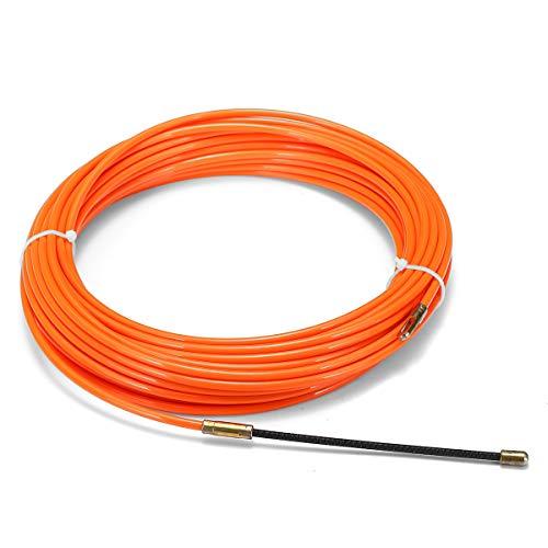 ExcLent Cable Push Puller Reel Conduit Nylon Snake Fish Tape Orange 4mm 15m-40cm -