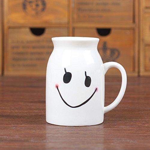 TIANLIANG04 Becher Kaffeetassen Keramik Weiß/Lächeln Flasche Schale, Lächelndes Gesicht