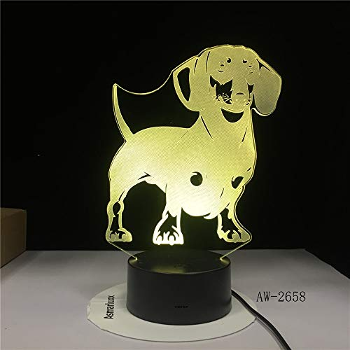 Bassotto cane di razza 3D LED illusione ottica lampada lampada fatta a mano salsiccia cane pet cucciolo arredamento luce di notte cambiando colore AW-2658