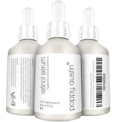 Retinol Serum von Poppy Austin® - DOPPELTE GRÖSSE 60ML - 2,5% Retinol, Vitamin E, Hyaluronsäure & Bio-Jojobaöl - Bestes Anti-Aging-Serum 2019 für Gesicht, Nacken & Augen (Bio-öl-narben-behandlung)
