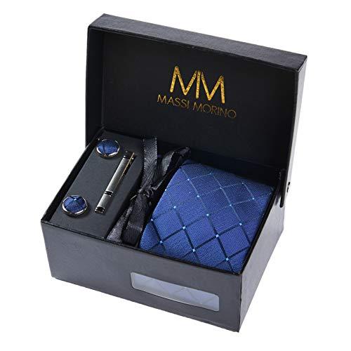 Massi Morino  Set de corbata Hombre (incluye pañuelo + gemelos + clip de corbata) caja de regalo para hombre (Cuadrado Azul Oscuro)