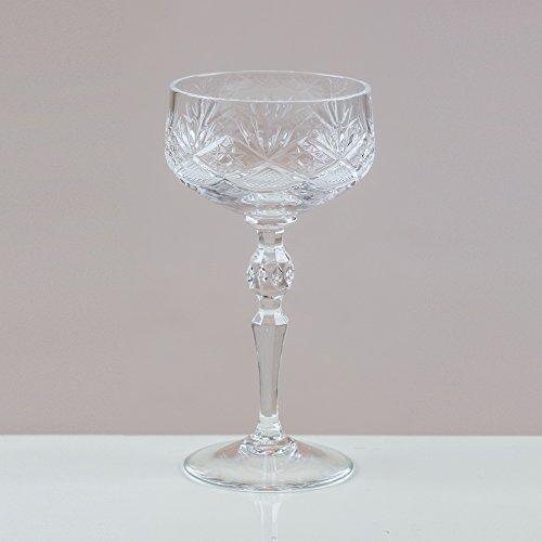 Victoria Sektkelche volarna Kristall/Untertassen aus Kristallglas 24% Blei Schnitt 100% Handarbeit (6Stück) Cut Punch Bowl