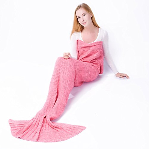 2505/5000 Todas las estaciones Mermaid manta para adultos Crochet dormir mantas para...