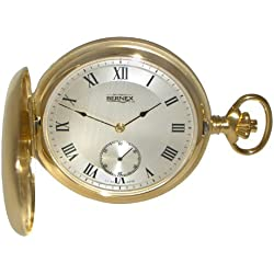 Bernex Swiss Made Mechanical Gold Plate Full Hunter Pocket Watch