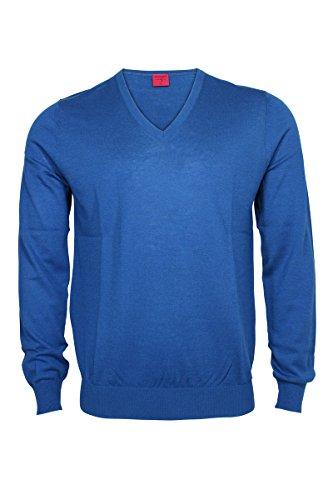 Olymp Strick V-Ausschnitt Pullover nürnberger Extrafeine Merinowolle mit Seide Mittelblau
