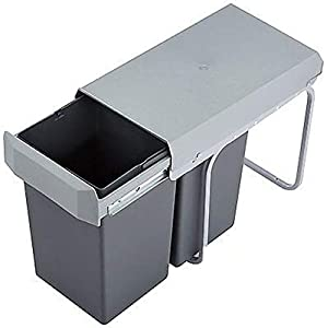 WESCO Double Boy 30DT 2x15 Liter silber/anthrazit Einbau Abfallsammler Mülleimer Teilauszug ab 30er Schrank