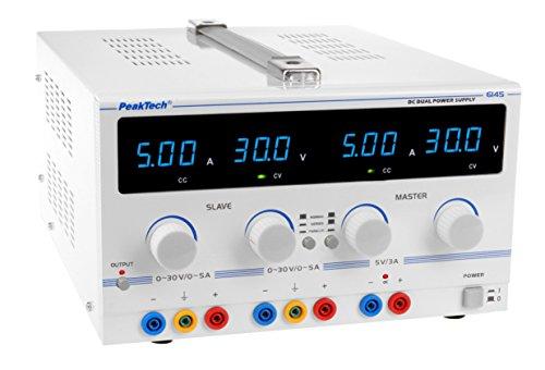 PeakTech Linear-Geregeltes Doppel Labornetzgerät 2 x 0- 30V /0- 5A DC mit 5 V/3 A Festspannung und Sicherheitstrafo, 1 Stück, P 6145 3a Linear Power Supply