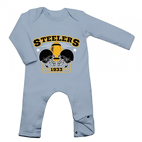 Shirt Happenz Steelers Babybody | 1933 | Super Bowl | American Football | Langarm | Langärmliger Strampler, Farbe:Babyblau (Dusty Blue BZ13);Größe:3-6 Monate (Langarm Super-bowl-shirts)