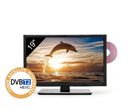 TV Led HD 19' per Camper - Dvd/Usb/Ci+/Hdmi - 12/24/220V - Attacco Vesa - Slim design