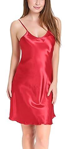Aibrou femme Déshabillés chemise de nuit sexy en satin petite tenue nuisette Bretelles reglables Pure Douceur Robes Peignoir ( Rouge, XL