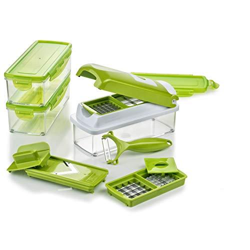 Genius Nicer Dicer Smart | 13 Teile | Gemüseschneider | Zwiebelschneider | Schneiden / Würfeln / Hobeln / Stifteln / Schälen / Aufbewahren | Mandoline | Multischneider | Gemüsehobel | Obstschneider | NEU -