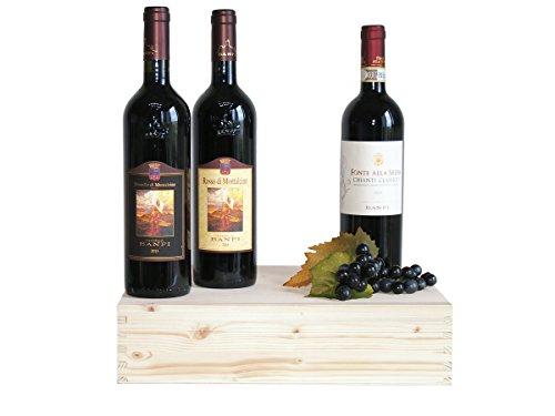 """Wein in Original Holzkiste """"Geschenk Weine Toscani Banfi in Original Holzkiste - 3 Flaschen"""" Geschenkset Italienisches Wein (Code N120)"""