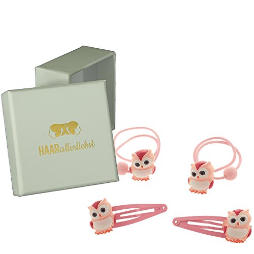 HAARallerliebst Haarschmuck Set (4 teilig   Eulen   rosa) für Mädchen inkl. Schachtel zur Aufbewahrung (Schachtelfarbe: Weiss)