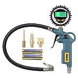 URCERI Manómetro Digital, 200 PSI, Precisión de ± 1%, Función 3 en 1 (inflado,desinflado y monitoreo de presión de neumáticos), Pantalla LCD Retroiluminadauso, para Bicicleta, vehículo, Moto, etc.