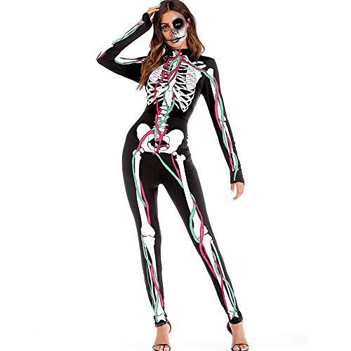 Frauen Langarm Overall 3D Drucken Jumpsuit Outfit Halloween Enge Hosen Footless Mager Bleistifthosen Leggings Strecken Länge ()