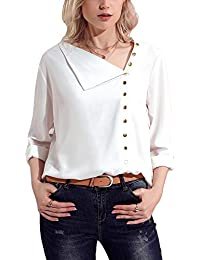 Damen Beiläufig Lange Ärmel Chiffon Bluse Asymmetrischer Kragen Taste hoch Hemd  Oberteile 46b185bc27