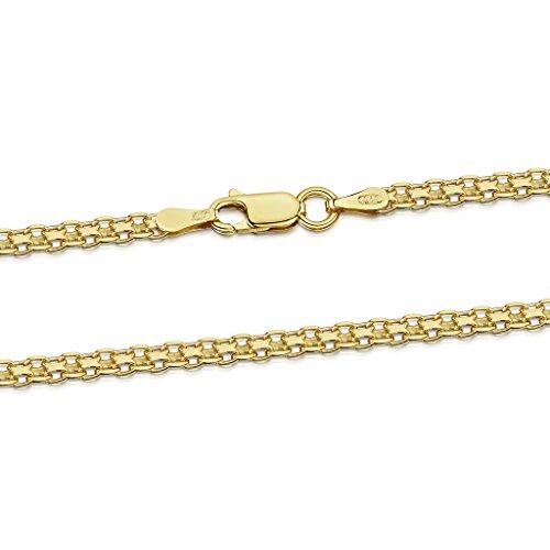 Amberta 925 Sterlingsilber Vergoldet 18K Halskette - Bismarck Kette - 2.2 mm Breite - Verschiedene Längen: 45 50 55 60 cm