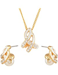 Estelle Swarovski/Cz/AD Stone Engraved On Big White Pearl-Drop Pendant & Ear Ring Jewellery Set In Long Neck Chain...