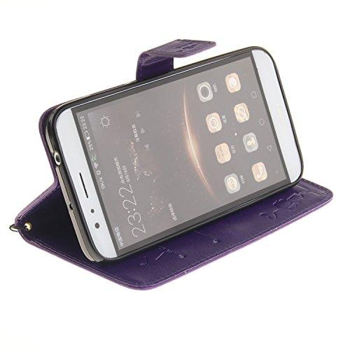 Meet de Dandelion gaufré pour Apple iPhone 7 Case, Folio pour Apple iPhone 7 PU Housse,Wallet / flip étui / Pouch / Case / Holster / Wallet / Case en cuir Wallet Style de couverture de cas Coque pour  pourpre