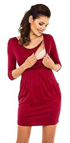 Zeta Ville - maternité robe de grossesse à taille froncée poches - femme - 252c (Cramoisi, EU 42)