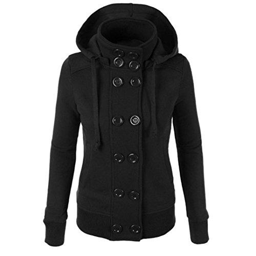 Koly_Inverno donne caldo petto doppio rivestimento del cappotto con cappuccio