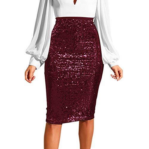 JieGREAT Räumungsverkauf, Women Fashion Solid Slim High Waist Push up Hip Pencil Zipper Sequin Skirt