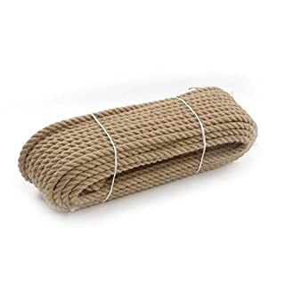 Rope 10mm / 20m Natural Jute Rope Twisted Braided Decking Garden Boating Cord Sash