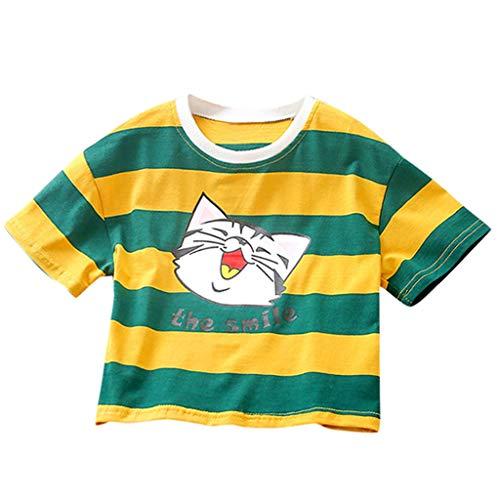Julhold Kinder Jungen Netter Regenbogen Streifen Karikatur Katze Lose Beiläufiges T-Shirt T Tops Kleidung 1-5 Jahre 1-5 Jahre