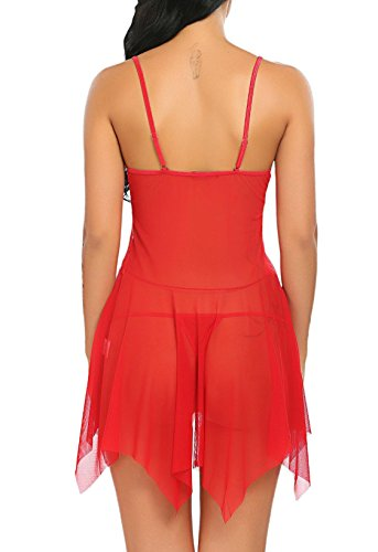 Keland Donne Babydoll Biancheria Intima Perizoma Aperto Perizoma Mesh Trasparente Pizzo Sleepwear Tentazione Rosso