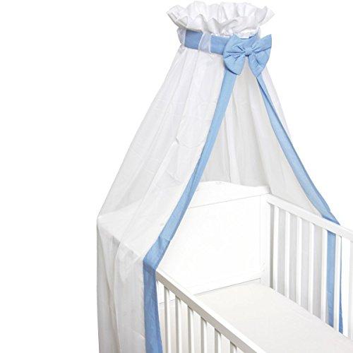 Babybett Schleier/Betthimmel (Mit Schleife) Für Babybetten 60 x 120 cm / 70 x 140 cm (BLAU)