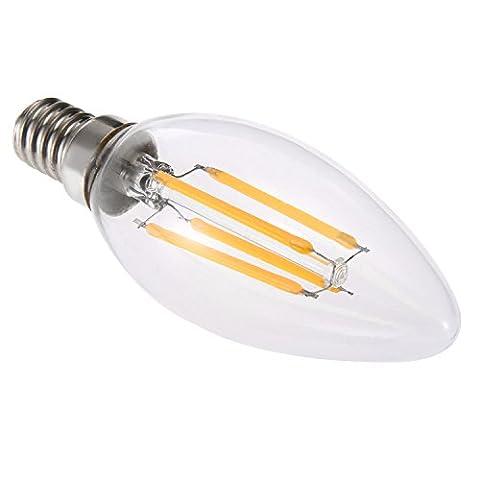 Haute qualité , E14 4W Blanc chaud Cool White Glass Shell LED Bougie Lumière Edison LED Filament Lampe LED Ampoule 220-240V (1pcs) Fit Maison et cuisine ( Couleur : Blanc Neige )