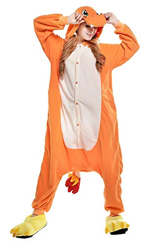 Charmander Kostüm Frauen - Glumanda Charmander Spielanzug Kostüme Bekleidung Animal Erwachsene Unisex Schlafanzüge Karneval Pyjamas Onesies Cosplay Jumpsuits Anime Carnival Weihnachten Halloween Nachtwäsche Damen