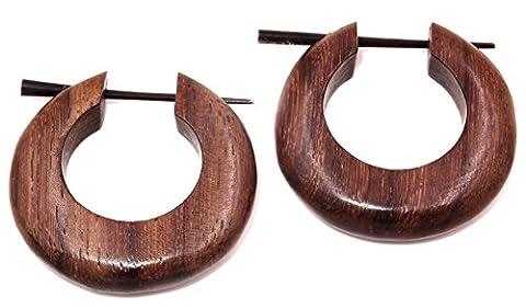 Faux Ecarteur Bois Boucles d'oreilles Piercing homme femme Wooden Fake Expander Gauge Wood Earring Earrings Fake paire spirale marron créoles